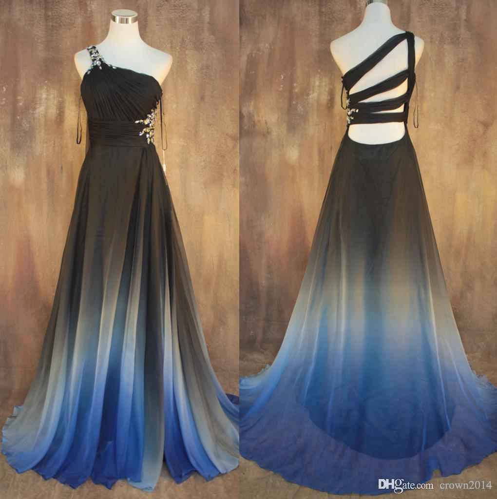 Multicolor Gradient Chiffon One Shoulder Evening Dresses Floor-length Pleated Beaded A-line Evening Gowns Formal Dresses Vestidos De Fiesta