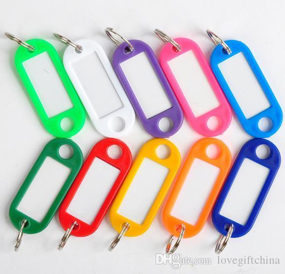 Etichette di identificazione delle valigie chiave in bianco della casa dell'hotel di DIY Etichette di identificazione delle etichette di nome di plastica del keychain con l'anello 100 PCS / Lot