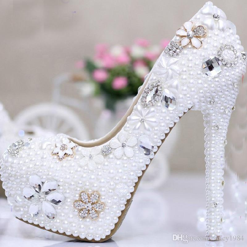 2019 Bridal Shoes Rhinestone Match Wedding Outfit High Heel Dress Shoes in White 4 Inches Heel Party Nightclub Prom Pumps Lady Woman Shoes