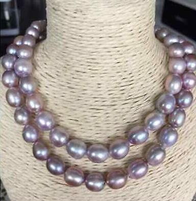 Gorgeous natural 11-12mm south sea purple pearl necklace 36 inch 925 silver clasp