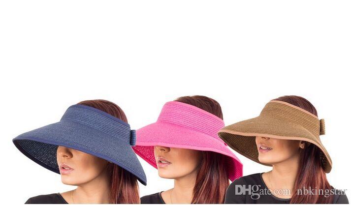 18 ألوان الصيف المرأة واسعة حافة القش أقنعة طوي قبعة الشاطئ سترو ، 10pcs / lot حرية الملاحة