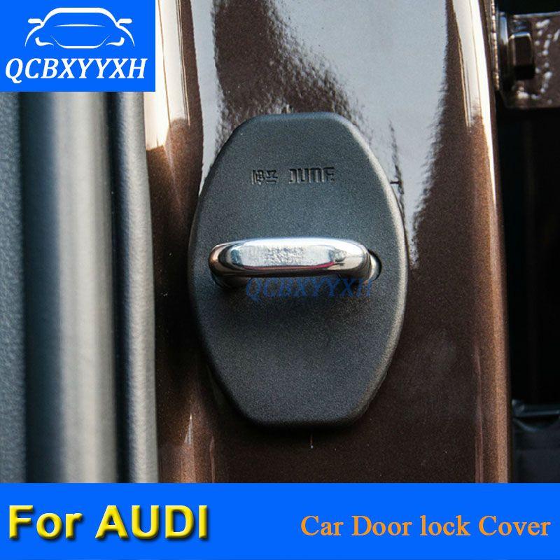 QCBXYYXH 4PCS / LOT ABS 자동차 도어 잠금 보호 커버 AUDI A6 2004-2011 A4 Q3 Q5 Q7 A1 A3 A5 A7 A8 A6 2018-2018 자동차 스타일링