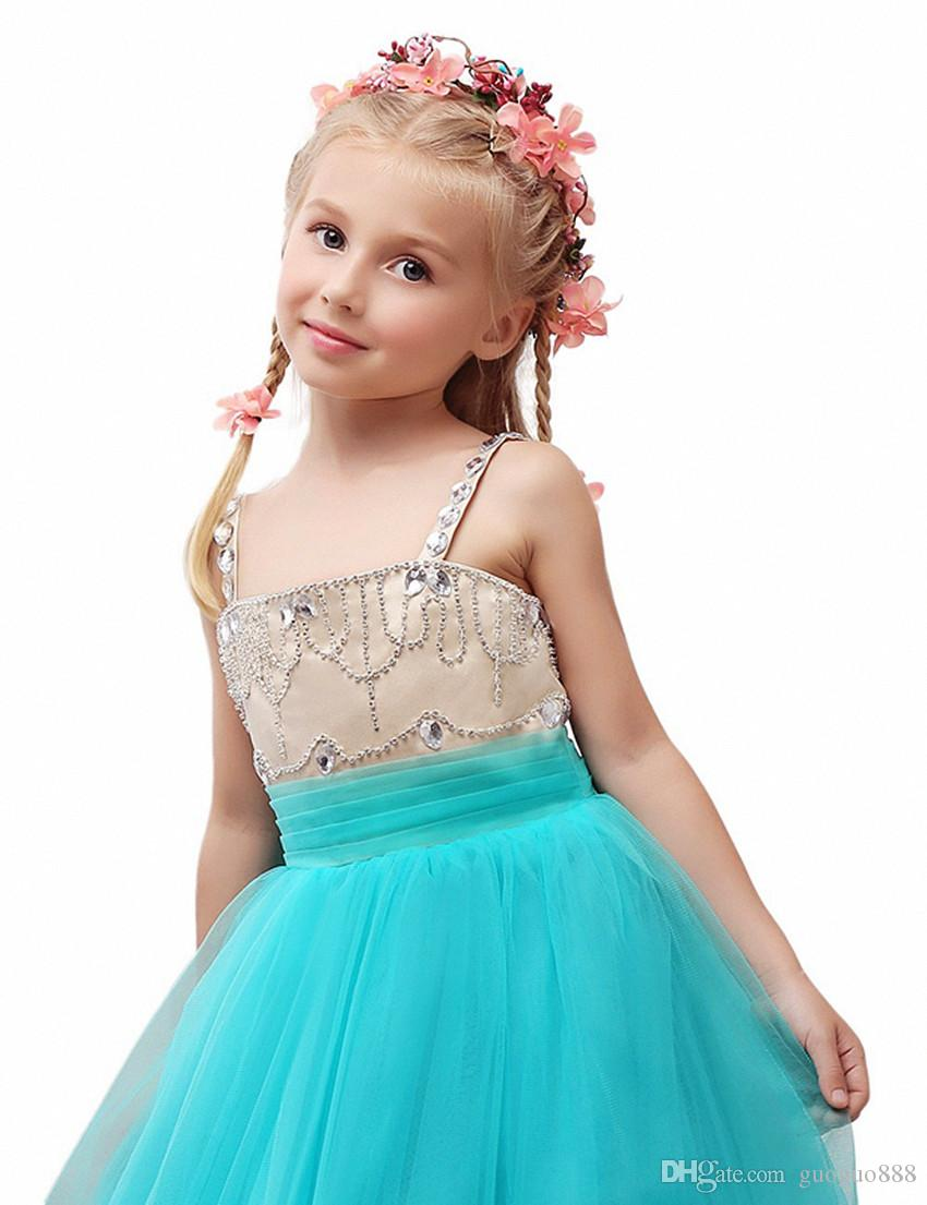 Sheer Neck Beaded Ball Gown Tulle Baby Girl Birthday Party Christmas ...