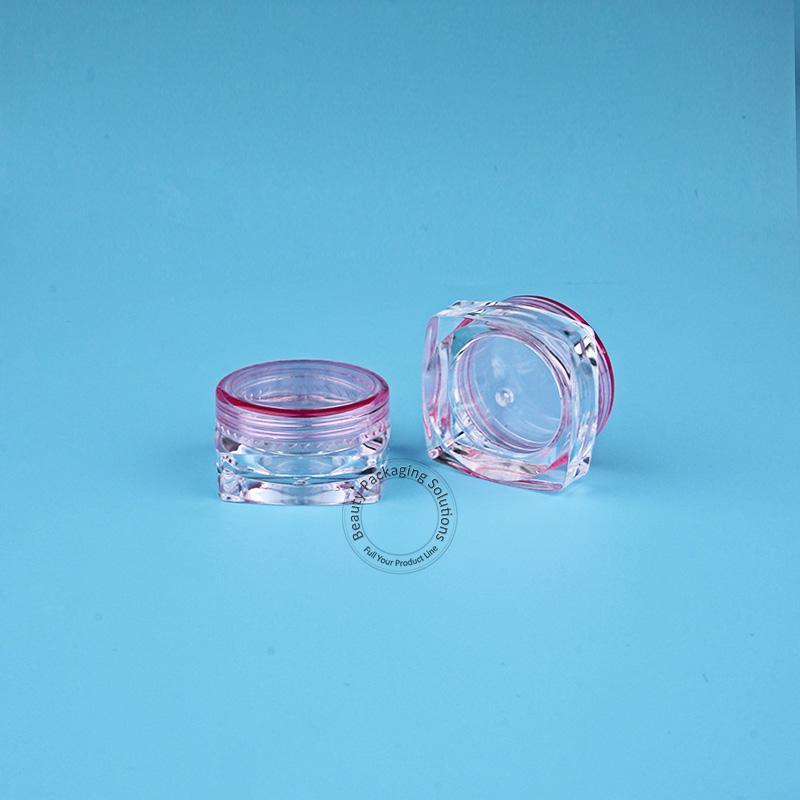 100 teile / los Förderung 3g Kunststoff Gesichtscreme Glas Kleine Probe Display Platz Kosmetische Flasche PS Vial Mini Cap Lidschatten Topf