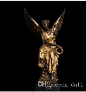 Свадебные подарки на день рождения Фен БРОНЗЫ Бронзовая Крылатая Победа Леди Богиня Афина Скульптура Мифология Статуя Ангела Бронзовые Статуи Французский Сувенир