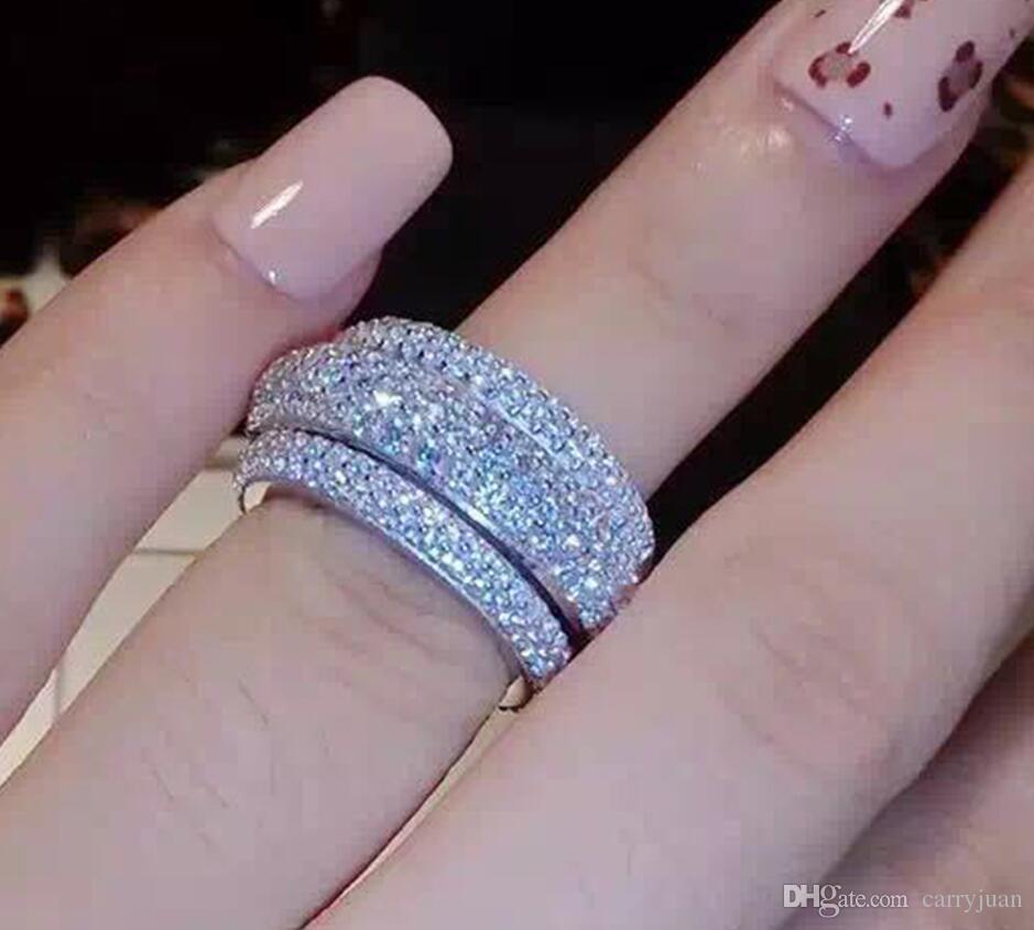 Pave Установка Top Selling ювелирных изделий класса люкс Секси 925 Sterling Silver White Sapphire 7 Row CZ Алмазный Свадебные обручальное кольцо диапазона Подарочный набор