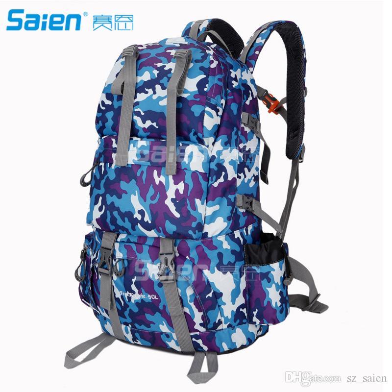 Outdoor-Taschen 50l Rucksack Camping Klettern Wandern für Backpacker mit Regenschutz