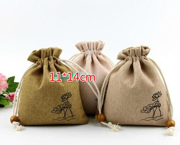 Free Ship 100pcs 11*14cm Retro Countryside Linen Bag Sack Jewelry Earrings Necklace Bags Wedding Party Candy Beads Christmas Gift Bag