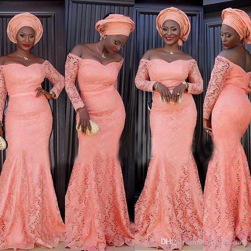 Vintage Lace African Prom Kleider Rose Pink aus der Schulter Meerjungfrau Abend Party Kleider Günstige Qualität nach Maß Abendkleid Ärmel