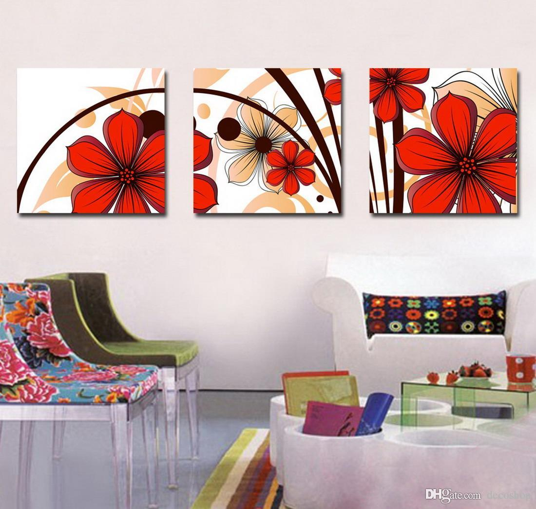 Beautiful Flowers Abstract Floral Painting Giclee Print On Canvas Home Decor Wall Art Set30141