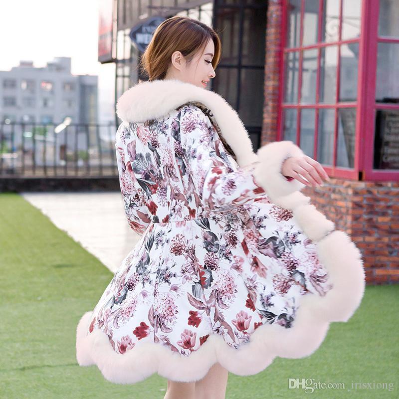 New Fashion Jacket Winter Coat Long Fox Fur Coat Sheep Skin Slim Leather Plus Size Women Jacket -2XL
