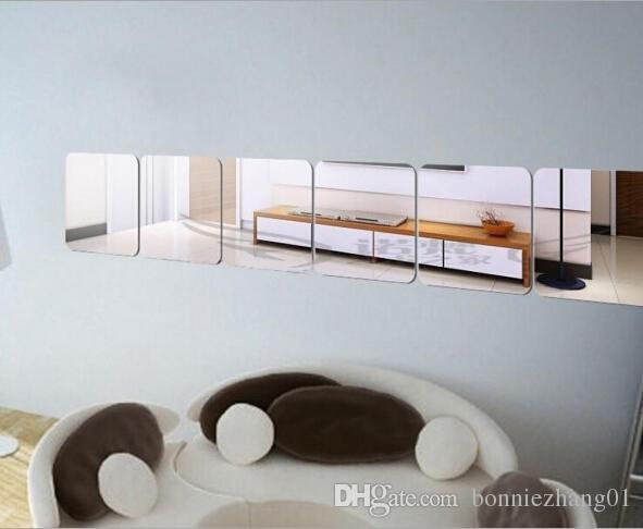 15cm Decorative Reflective Square Mirrors Self Adhesive Tiles Mirror Wall Stickers Decor