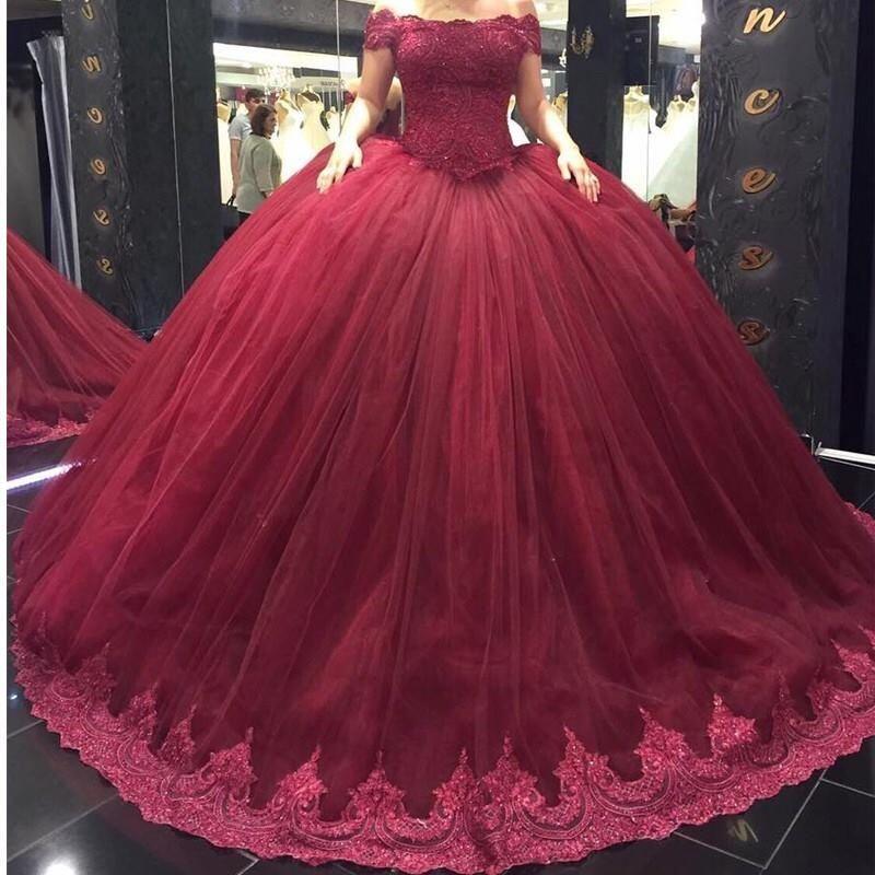 Compre Hot Burgundy Ball Vestido Quinceanera Vestidos Fuera Del Hombro Apliques De Encaje Con Cuentas Largos Vestidos De Fiesta Sweet Sixteen Prom