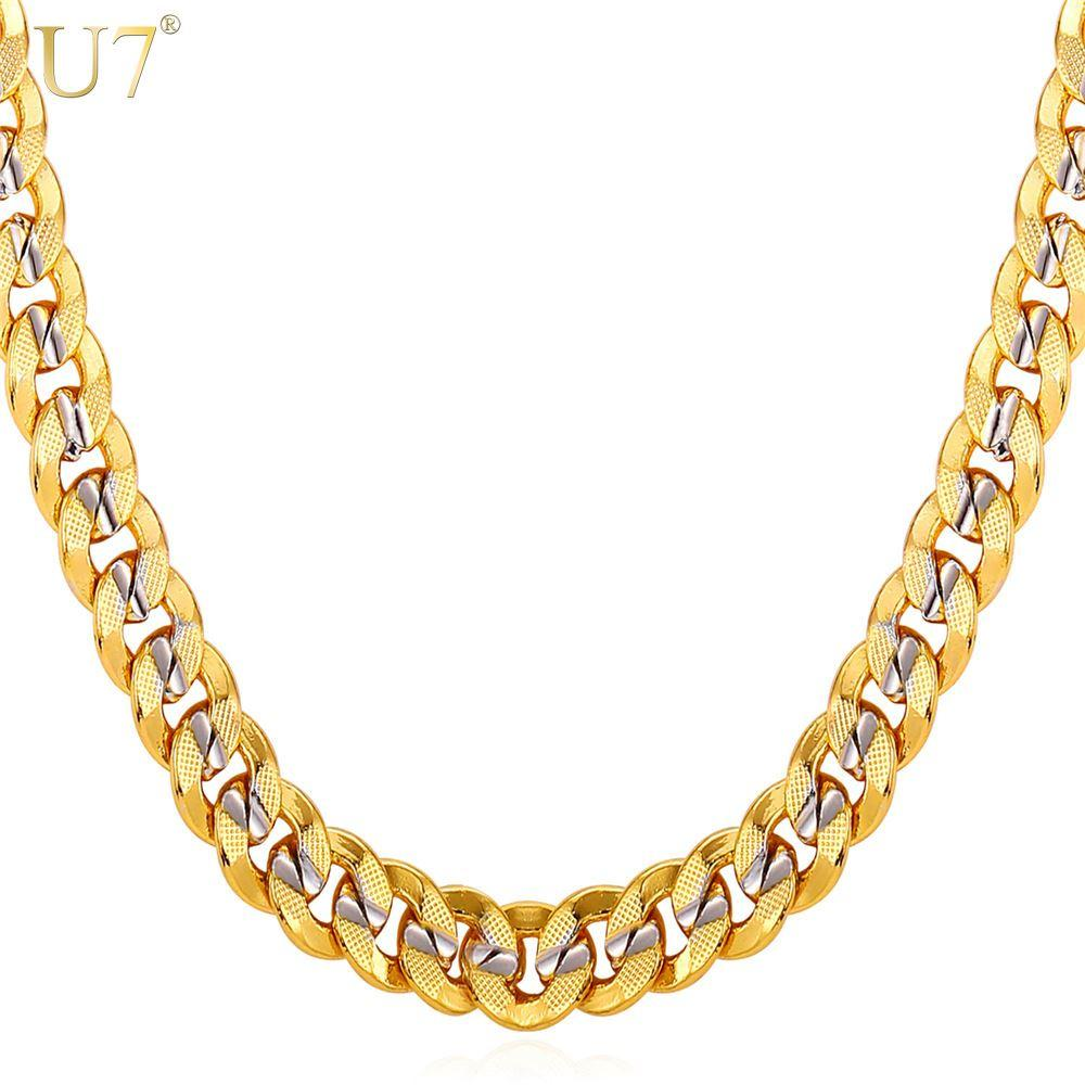 New New Two Tone Gold Chain For Men Jewelry With Stamp Trendy 18K Real Gold Plated 9MM 5 Size Curb Men Necklaces Gift N552