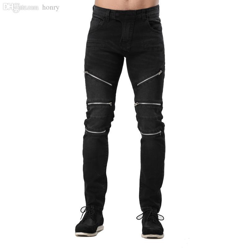 Wholesale-New Arrival Fashion Men Jeans Black Racer Motorcycle Jeans Zipper Style Hip Hop Jeans For Men Size 30-38 Y2062
