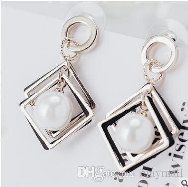 2017 YENI yaz geometrik elmas kiraz inci küpe abartılı moda küpe iki renk