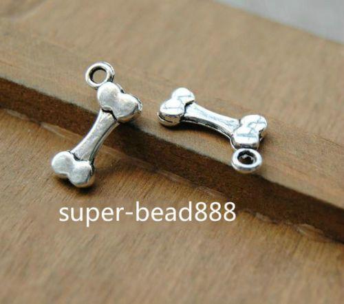 Livraison gratuite 200pcs Antique Silver Bone Charms Bracelet pendentif pour la fabrication de bijoux17x10mm