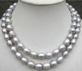 Klassische doppelte Stränge Südsee 12-13mm barocke Südsee graue Perlenkette 18 Zoll 19 Zoll 14 Karat Gold