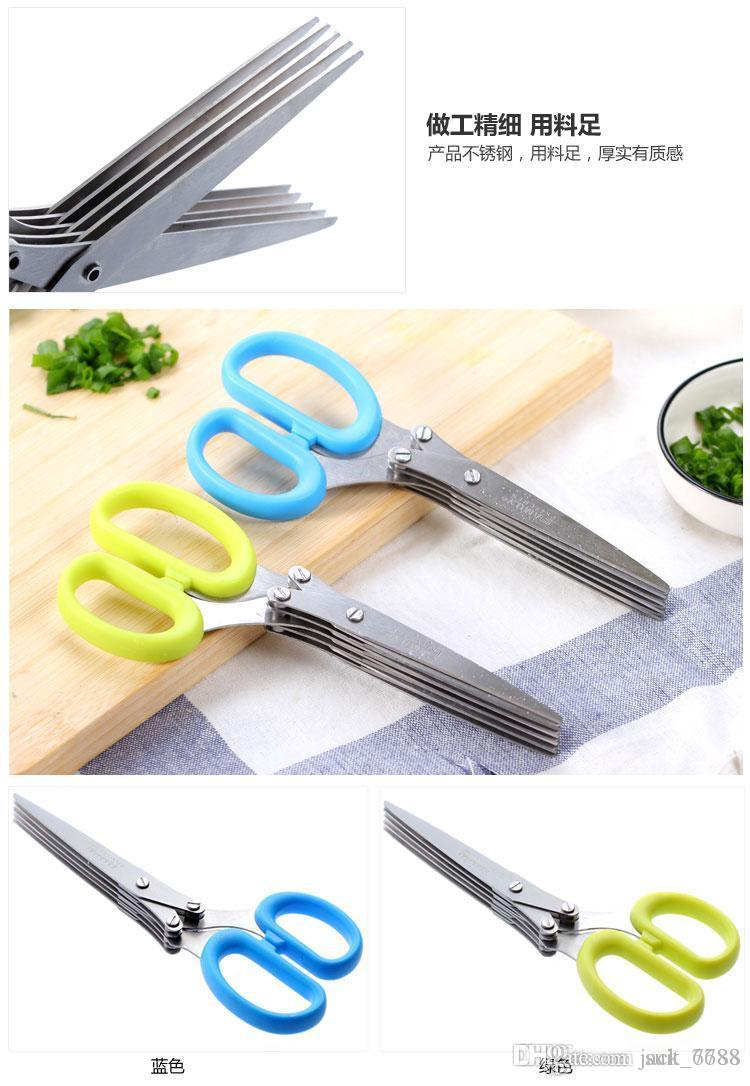 Hardware multilayer stainless steel kitchen scissors cut scallions chopped vegetables vegetable nori scissors shredding scissors sharp shear