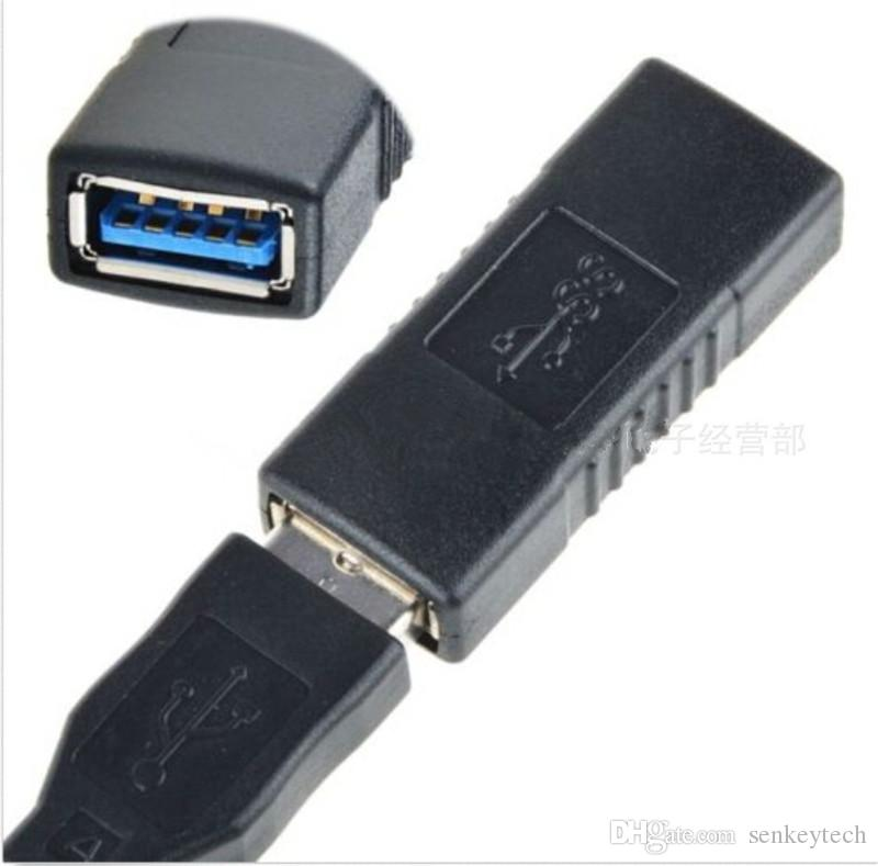 블랙 / 블루 컬러 고속 USB 3.0 여성 어댑터 커넥터 AF / AF USB 확장 케이블 커플러 opp 가방 소매 패키지