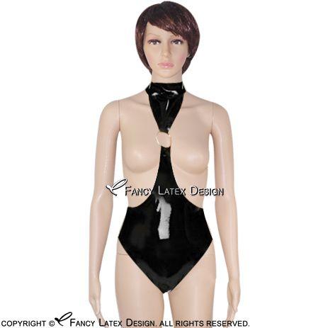 escritos negro Sexy Vestido de látex con junta tórica de goma underwears de las bragas de los calzoncillos Fetiche los pantalones panty traje de cuerpo body-0043 LTY