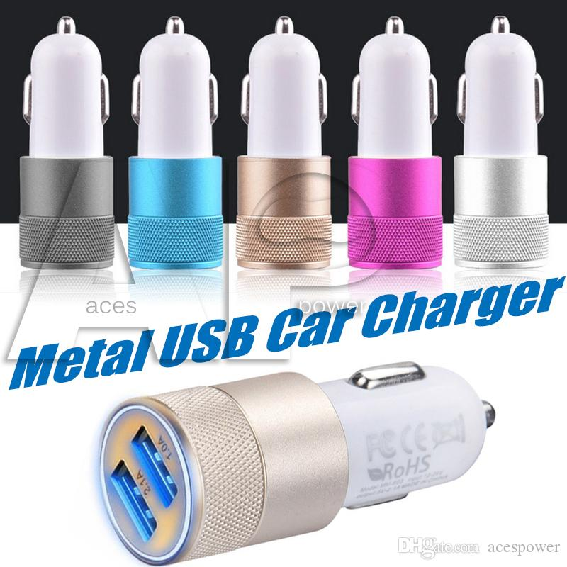 Dual USB Port Adapter Carregador Universal Alumínio 2-Port Carregadores de Carro USB para iPhone XS Max X Samsung Galaxy S10 Plus 5V 1A