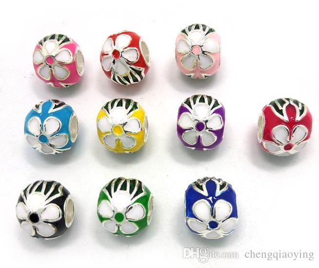 Brand new mix color Cloisonne design big hole silver plated loose beads fit European bracelet & necklace jewelry DIY