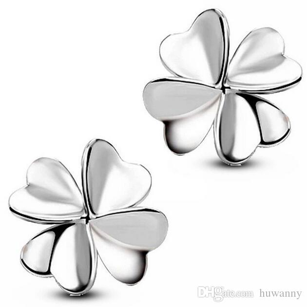 Silver Stud Earrings Jewelry Hot Sale Crystal Clover Stud Earrings for Wedding Party Fashion Jewelry Wholesale Free Shipping - 0023WH