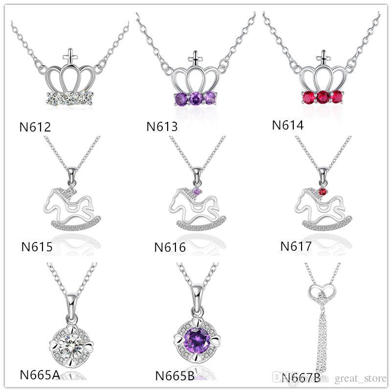 Горячая продажа женщин Драгоценный камень серебро ожерелье GTP16, коронные трояны 925 серебряных ожерелье (с цепью) 10 штук много смешанный стиль