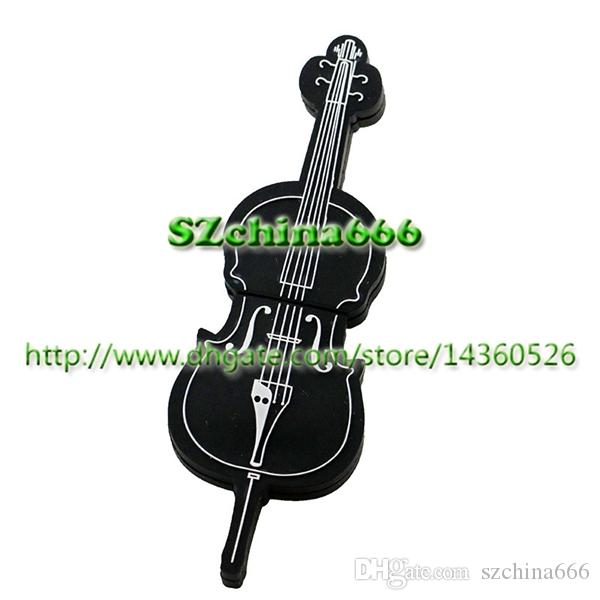 Musical Instrument Guitar Violin Shape PVC Cheapest Price USB Flash Drive  8GB Pendrive Promotional Gift Real 1GB 2GB 4GB 16GB Memory Stick Usb