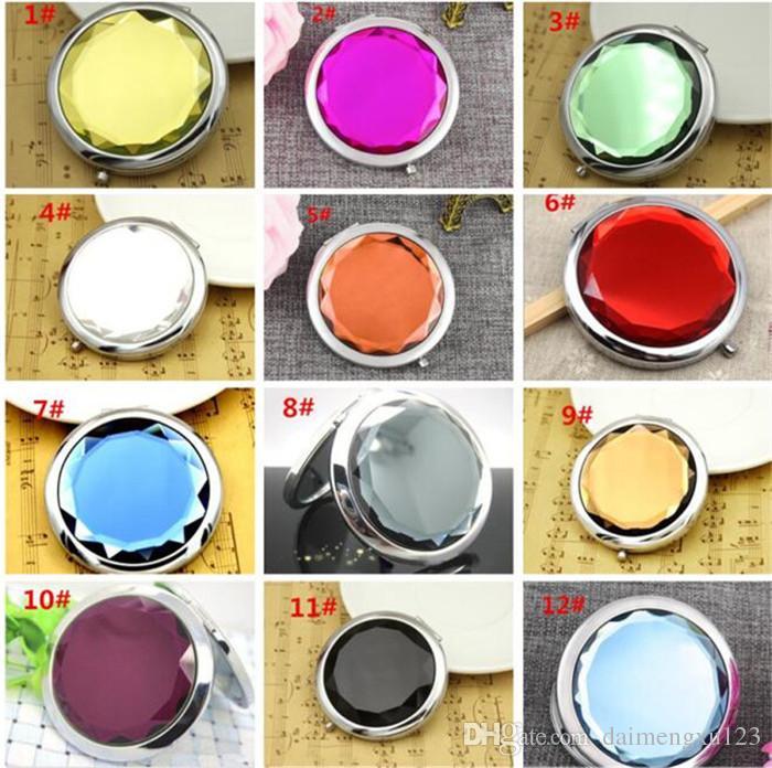 50 قطع 12 ألوان التجميل المرايا المدمجة كريستال مكبرة متعدد الألوان المكياج أدوات ماكياج مرآة الزفاف الإحسان هدية x038