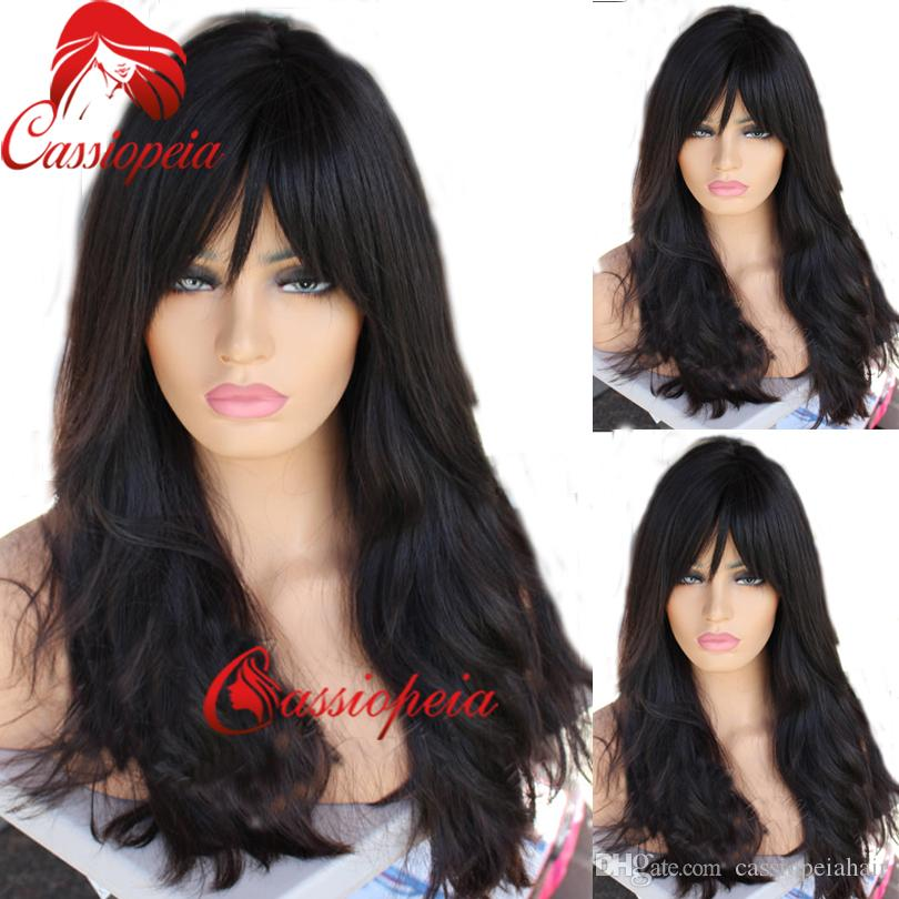 Natural Wave Full Lace Wigs with Bangs Glueless Brazilian Virgin Human Hair Lace Front Wavy Wigs For Black Women