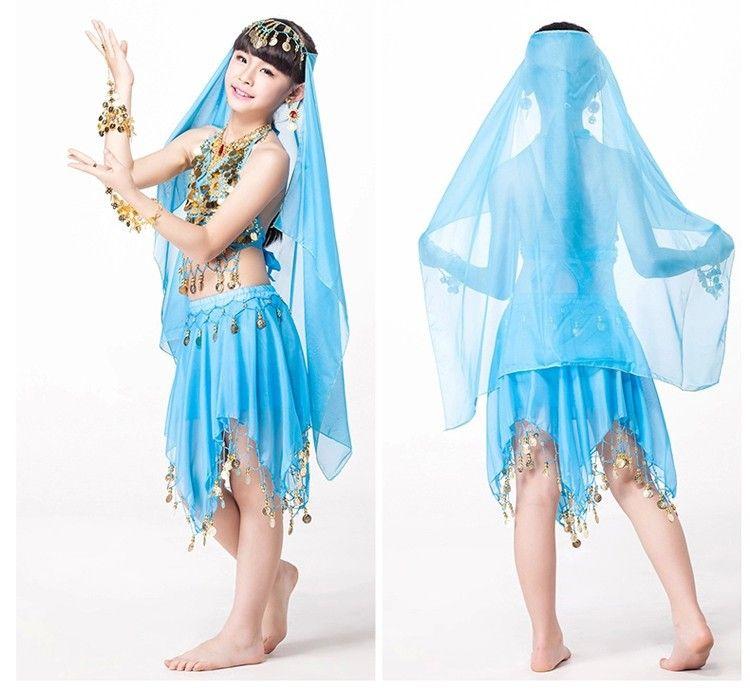 Vestido indio para niños Día del niño Dancewear Chiffon Coins Skirt Clothes Indian Clothing Sari Indian Child Costume
