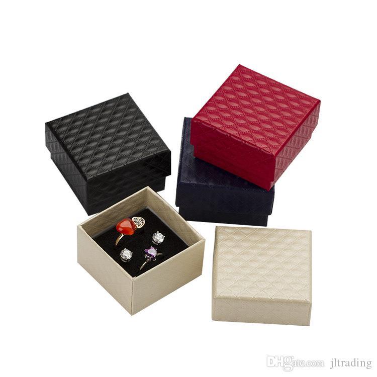 5*5*3cm Jewelry Display Box 48pcs/lot Multi Colors Black Sponge Diamond Patternn Paper Ring /Earrings Box Packaging Gift Box