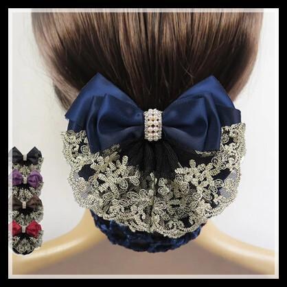 도매 - 뜨거운 판매! 2015 새로운 도착 Womens 뜨거운 유행 레이스 활 활자 머리 장식물은 Snood 그물 롤빵 덮개 3 개의 색깔을 % s 가진 덮개를 해방한다!