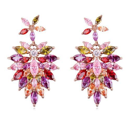 Baumeln Kronleuchter Ohrringe Luxus Mode Frauen Hohe Qualität Zirkon 18 Karat Gold Überzogene Blumen Ohrringe Schmuck Großhandel TER013