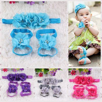 Accessoires cheveux mignon bébé pied en mousseline de soie strass fleur Barefoot Sandales + Bandeau 3pcs / set bébé Bandeaux élastiques bébé Enfants Bandeaux