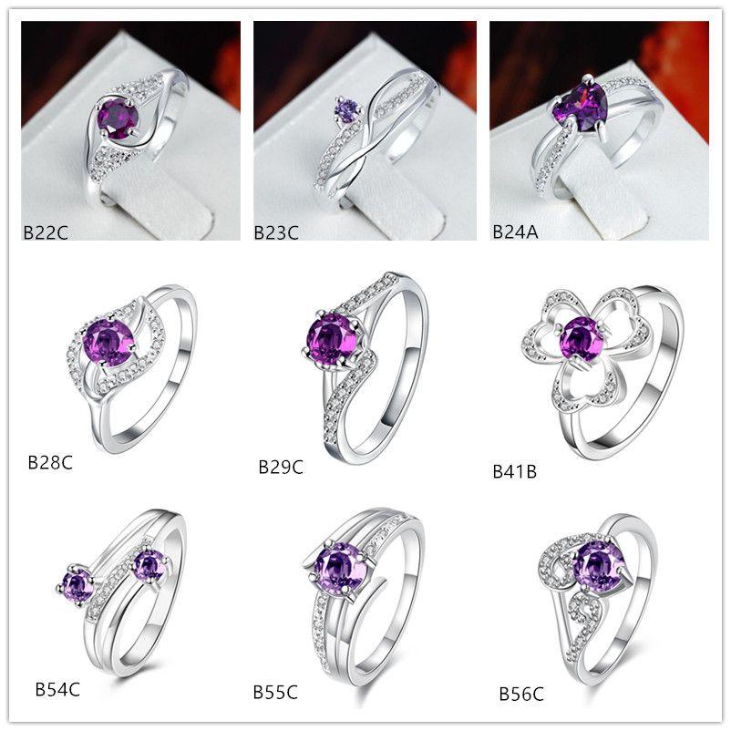 Marca nova moda estilo misto roxo gemstone 925 placa de prata anel EMGR26, linhas onduladas Trevo flor banhado anel de prata esterlina