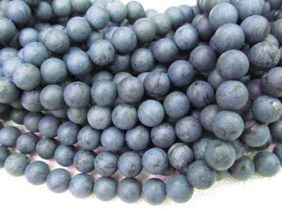 2strands 6-14mm матовый Дюмортьерит драгоценный камень бусины круглый шар синий свободные бусины