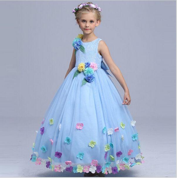 Девочка высокое качество Золушка цветок Фея костюм девушки партия макси платье дети принцесса свадебные платья дети производительность платье Q64