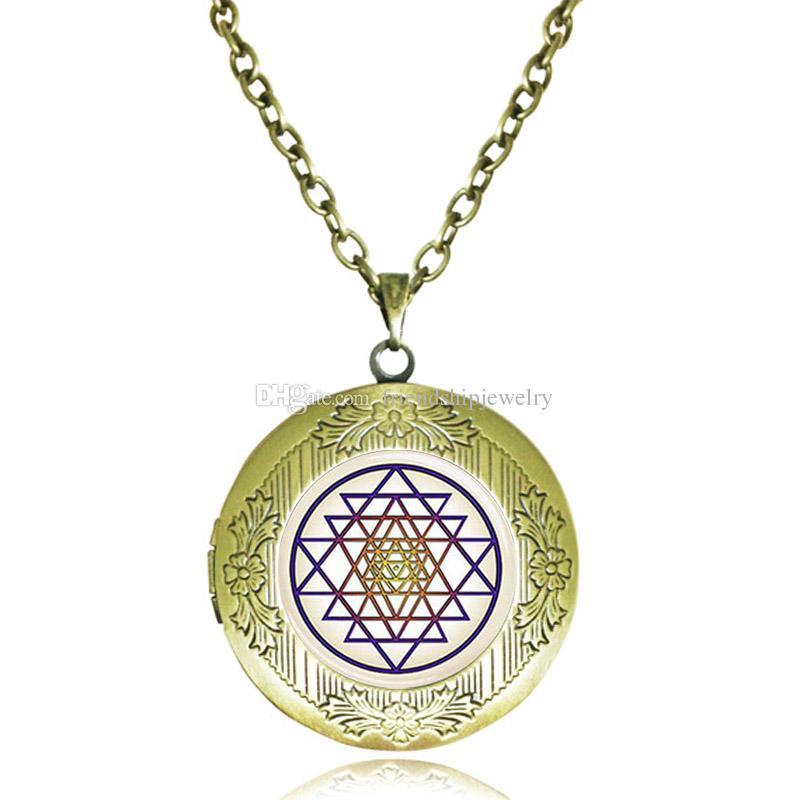 SRI YANTRA Sacred Geometry Cabochon Verre Or Médaillon Collier Pendentif