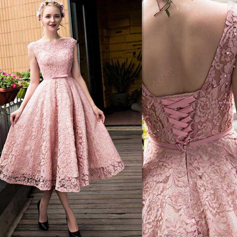 2017 Blush Pink Evening Dresses Tea Length A-line Lace Cap Sleeve Formal Prom Party Gowns per le ragazze indossano