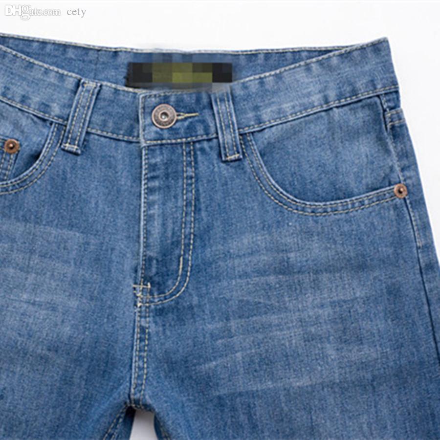 الجملة ، جديد حار بيع ذكر سروال أزرق فاتح جينز موضة الاتجاه مستقيم عارضة ارتداء نوعية جيدة حجم كبير كامل طول زيبر يطير دافئ