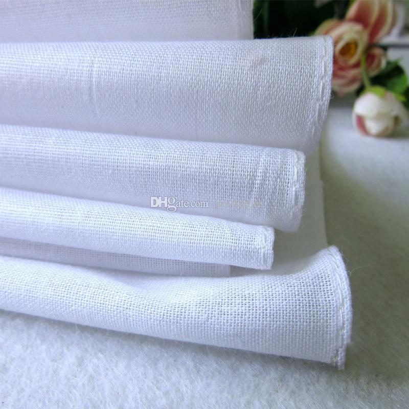 27 * 28cm 100% Coton Blanc Mince Mouchoir Hommes Femmes Table Satin Mouchoir DIY Pocket Square Plaine Mouchoir En Gros