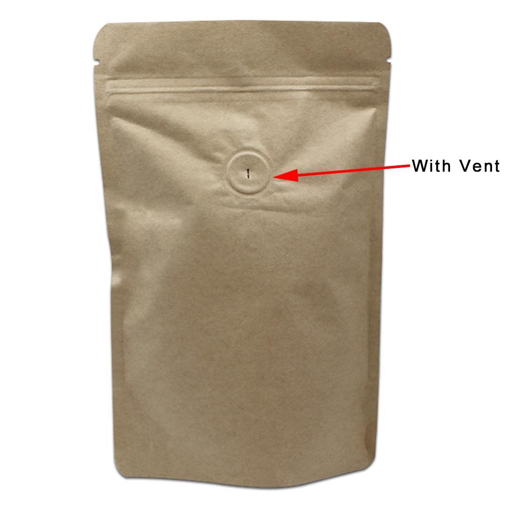30 Pcs / Lot Zip Lock Stand Up Papier Kraft Pur Feuille D'aluminium Paquet Sac Café Haricots Sacs De Stockage De Nourriture Avec Air Vanne D'évacuation