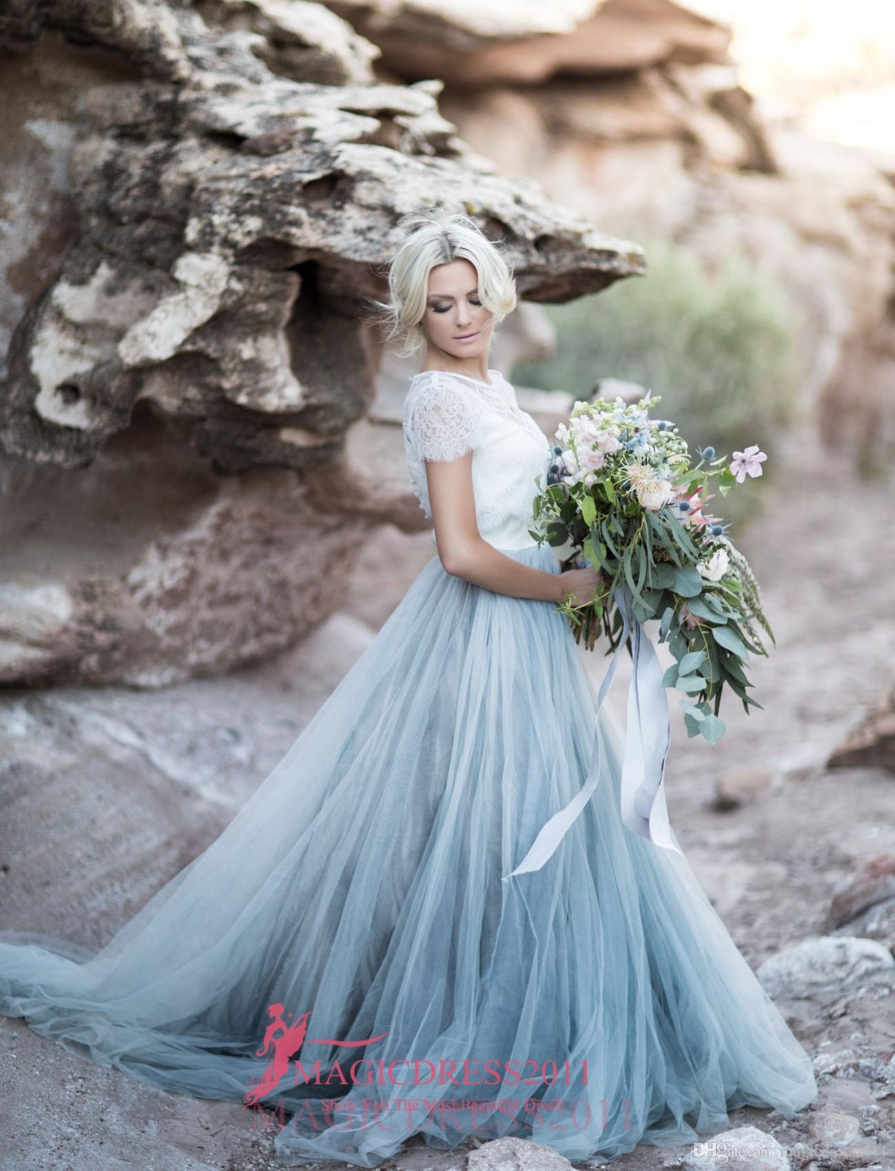 Discount Gorgeous Desert A Line Wedding Dresses 2016 Lace Illusion ...