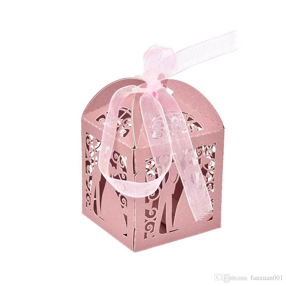 Bride And Groom Favor Holders Laser Cut Candy Box With Ribbon Party ...