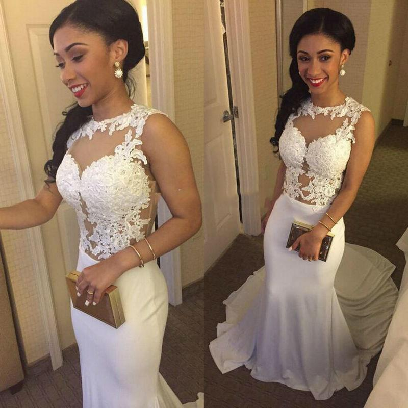 Long Evening Gowns White 2016 Mermaid Style Lace Sheer Neck And Chiffon Long Train Formal Party Prom Dresses Sexy Indian Dress