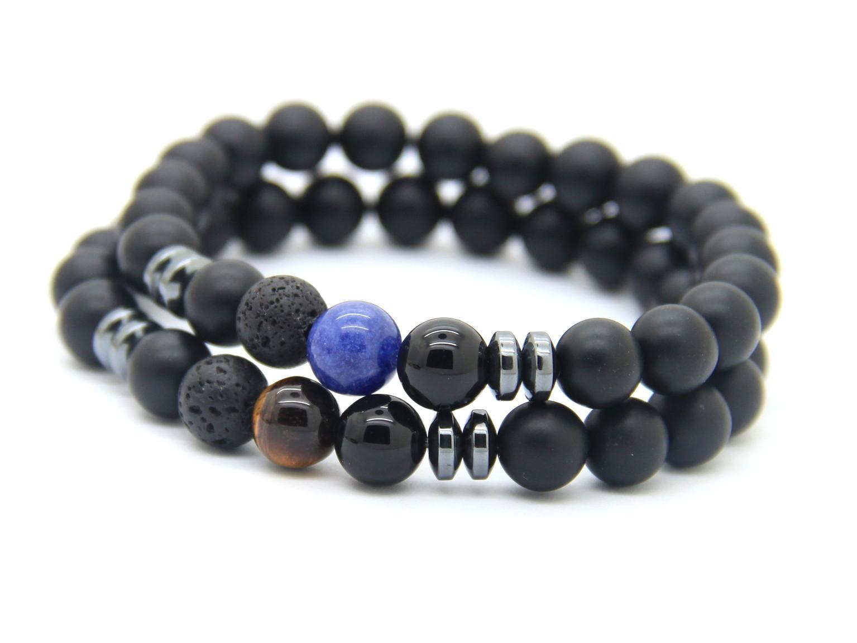 2016 Nouveau Design Hommes Bracelets En Gros 8mm Mat Agate Pierre Perles Oeil De Tigre et Veines Bleu Chanceux Bracelets