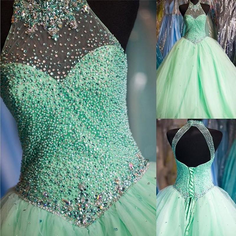 Turquesa vestido de fiesta vestidos de baile rebordear crop top vestidos de fiesta cuello alto con cordones tul vestido de fiesta larga vestidos de fiesta